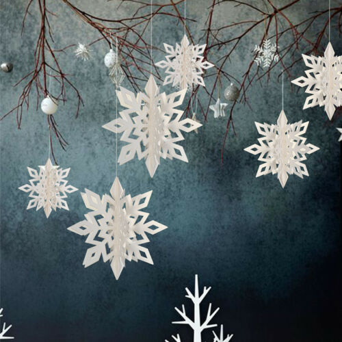 6Pcs//Pack Cardboard 3D Hollow Snowflake Hanging Ornaments Party Christmas Decors