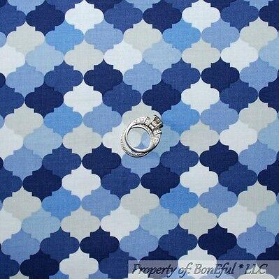 BonEful Fabric FQ Cotton Quilt Blue Navy Gray Dark Light Baby Boy Nursery Stella