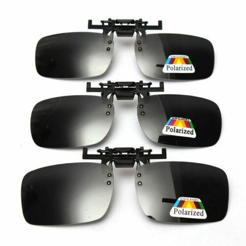 Polarized Light Flip-up Clip-on Lenses Black Sunglasses UV400 Driving Glasses