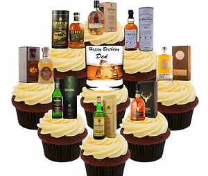 Image Is Loading Happy Birthday Dad Whisky 36 Edible Cupcake Toppers
