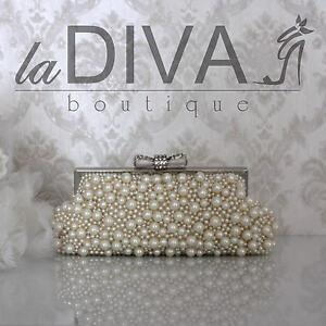 Brauttasche Clutch Perlen Tasche Abendtasche Braut Hartschale Perlentasche *NEU*