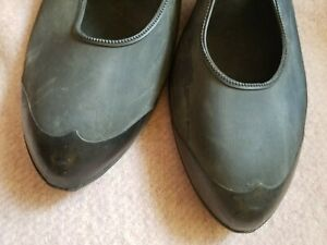"vtg1940's ""ball band"" black rubber shoe cover high heel"