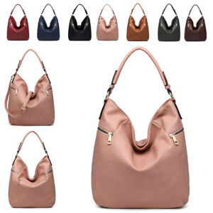 Damen-Kunstleder-Reissverschluss-Vorne-Schultertasche-Hobo-Arbeit-Tag-Handtasche