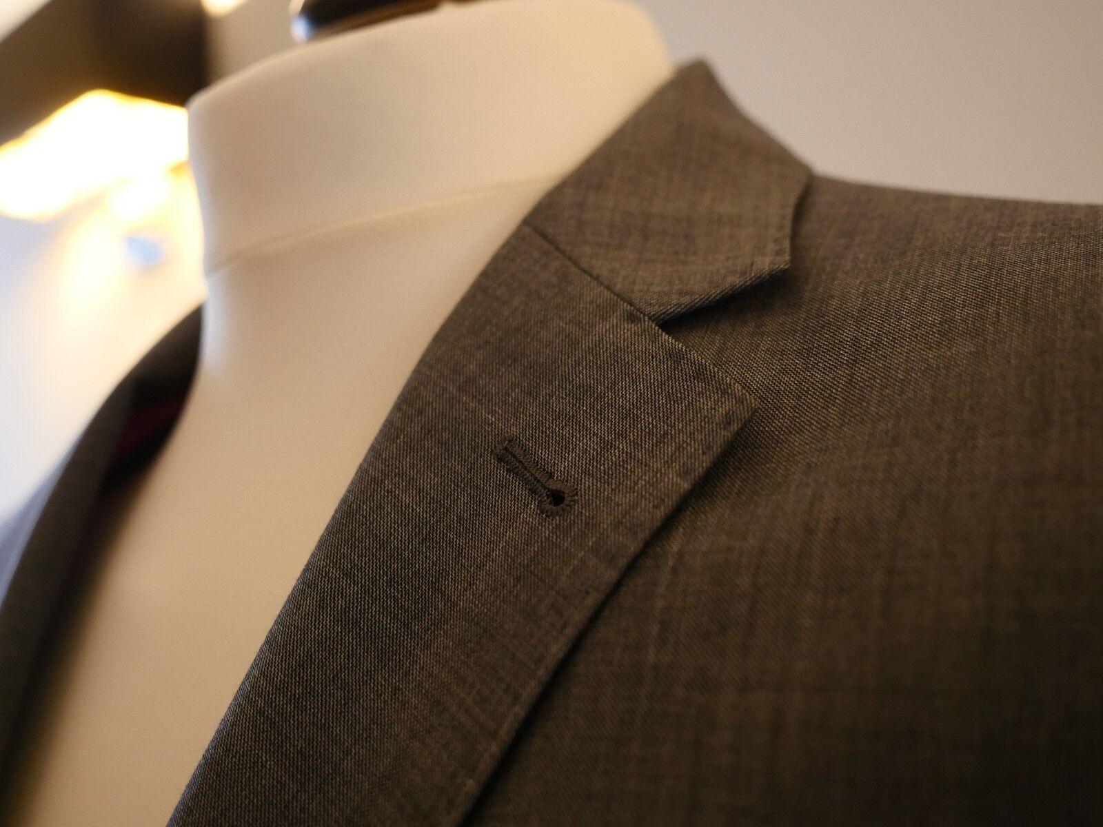 Grauer Anzug 100% Wolle Super 130 Größe 48