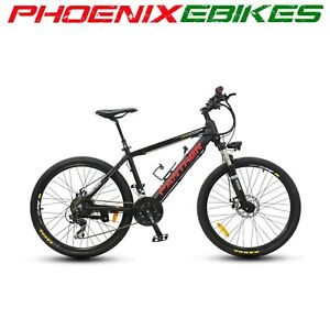 Electric Bikes Sporting Goods White COUGAR Electric Mountain EBike HIDDEN 36volt 9ah Battery 21 Speed New