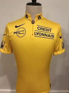 Nike Mens 1999 Tour De France Yellow Cycling Bike Racing Jersey Made ... 8f2405245