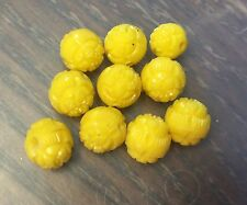 Vintage Japan Old Plastic Carved Sculpted Yellow Flower Round Bead Lot