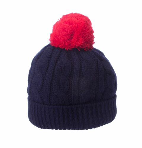 TOPMAN Kid/'s Navy Blue//Red Solid Cable Knitted Winter Pom Pom Cap One Sz NEW $24