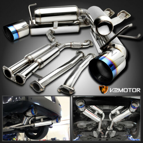 For 03-09 Nissan 350Z Z33 Fairlady Z Dual Catback Exhaust System Burnt Tip
