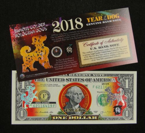 United States NOTE $1 Dollar 2018 Chinese New YEAR OF THE DOG Lucky Money