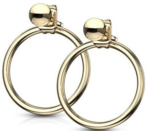 NEW-amp-SEALED-High-Quality-Gold-Hoop-Stud-Pair-Of-Earrings