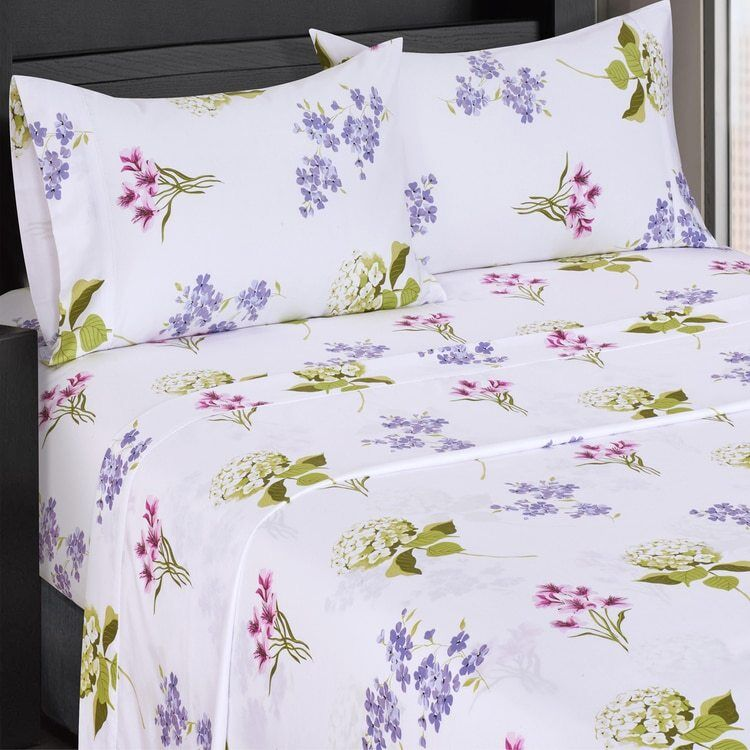 Soft Flowery 300 Thread Count Cotton Blossom Bed Sheet Set