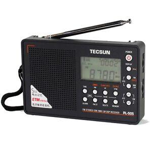 PL-505-DIGITAL-DSP-FM-MW-LW-SW-AM-SHORTWAVE-TECSUN-PL505-PORTABLE-RADIO-BLACK