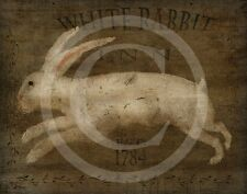 Primitive Colonial White Rabbit Inn Tavern Sign 1784 Print 8x10