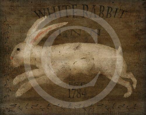 Primitive Colonial Folk Art White Rabbit Bunny Inn Tavern Sign 1784 Print 8x10