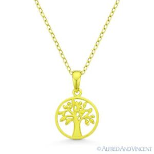 Tree-of-Life-Charm-Pendant-amp-Necklace-in-925-Sterling-Silver-w-14k-Yellow-Gold