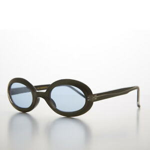 Blue-Small-Junior-Adult-Colored-Oval-Lens-90s-Sunglass-Olive-Frames-Gem