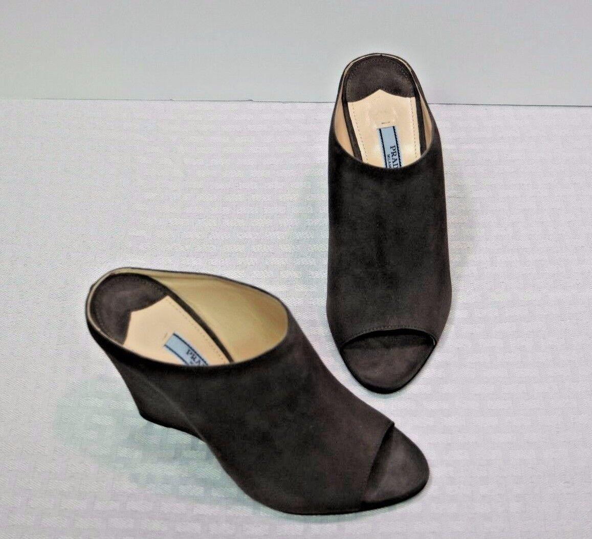 NIB Prada Grigio Suede Peep Toe Wedge Slides Heels  6 36  ( 420)