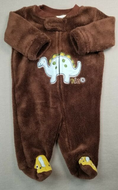 e28da6a4ea LITTLE WONDERS NEWBORN BABY BOY BROWN FUZZY DINOSAUR FOOTED SLEEP N PLAY  OUTFIT