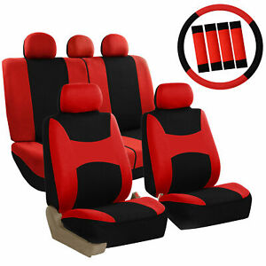 Car-Seat-Covers-Red-Set-for-Auto-w-Steering-Wheel-Belt-Pad-Head-Rests