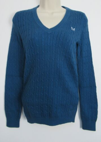 New Womens Crew Clothing Heritage V Neck Cable Knit Jumper Size 8-16 Petrol Bl