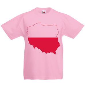 Poland Kid/'s T-Shirt Country Flag Map Top Children Boys Girls Unisex