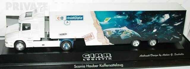 1:87 Scania Hauber T124 Koffer-Sattelzug Girr Logistik midiData - herpa 120265