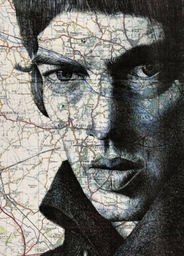 The Verve Richard Ashcroft Birthday//Greeting Card.Pen Drawing over Map of Wigan