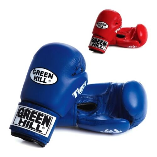 Greenhill Leather Boxing Gloves Tiger Training Sparring 16 Oz Blue Muay Thai MMA