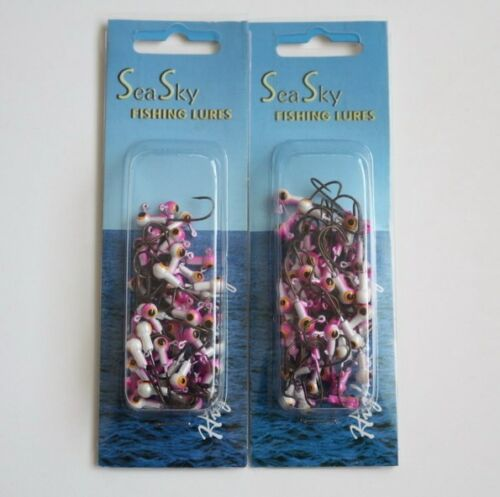 100 NEW Painted Jig Heads 1//32 oz Fishing Hooks Lures Bait Tackles Pink