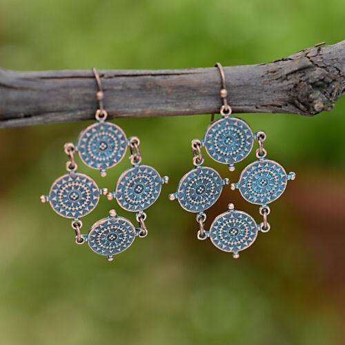 Vintage Bronze Carved Drop Dangle Ethnic Earrings Women Retro Gypsy Jewellery