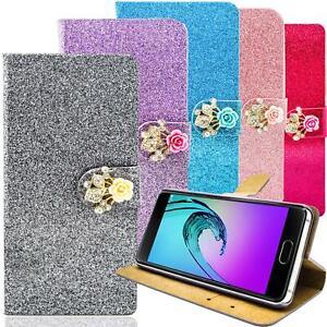 Handy-Tasche-Glitzer-Schutz-Hulle-Flip-Cover-Case-Bumper-Handyhulle-Wallet-Etui