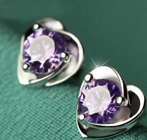 Fashion-Crystal-Heart-Lady-Earrings-18k-White-Gold-GP-Stud-Dangle-Drop-Earrings