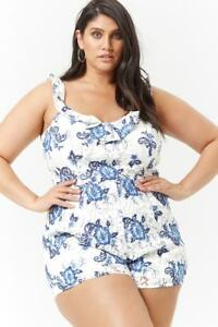 1072fe137036 Image is loading Forever-21-Plus-Size-White-Blue-Floral-Lace-