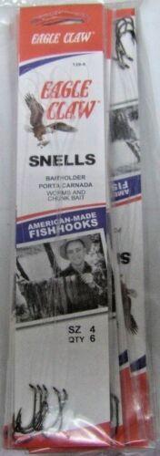 Eagle Claw Snelled Fish Hooks Original Baitholder 139/'s 12 packs You Choose Size