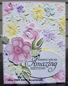 Handmade Stampin Up Happy Everything CARD KIT Garden Shed Flowers Trees 4 Cards