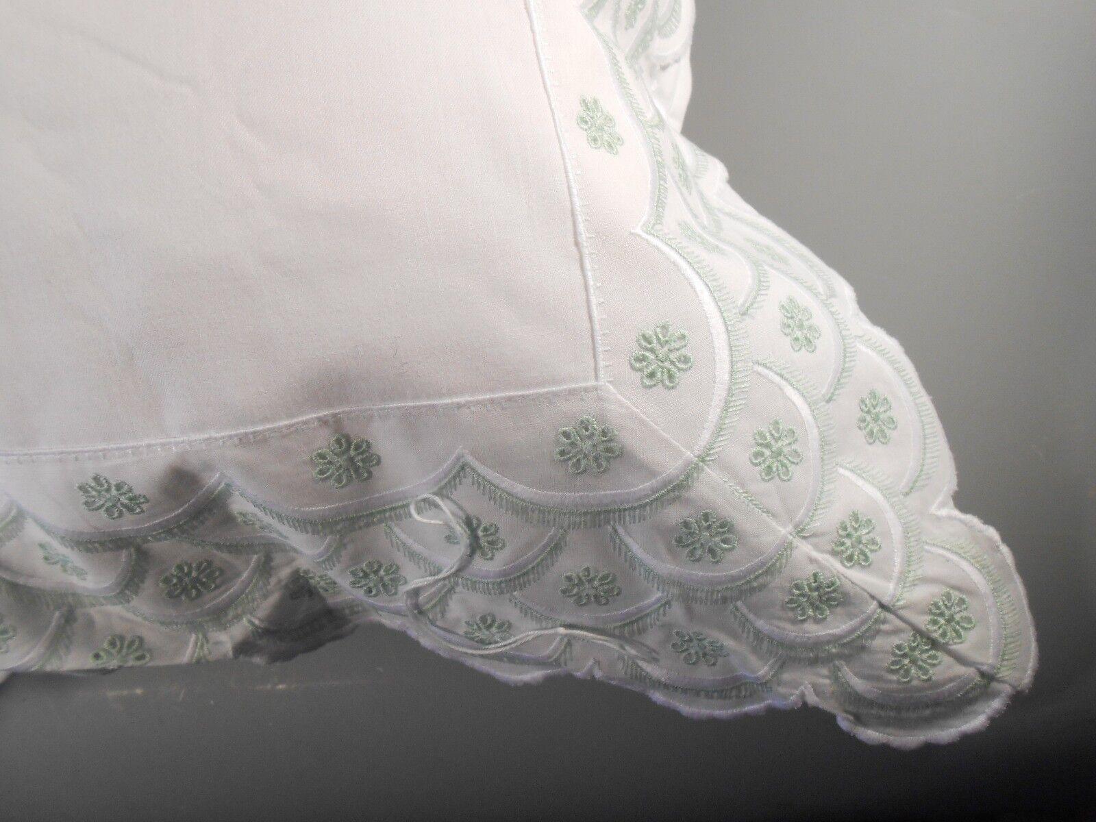 Very Fine Egyptian Cotton STD Queen Sham Case w  Swiss St. Gallen Trim