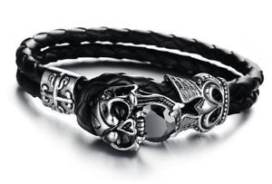 Mens Skull Black Leather Bracelet Stainless Steel Gothic Jewelry
