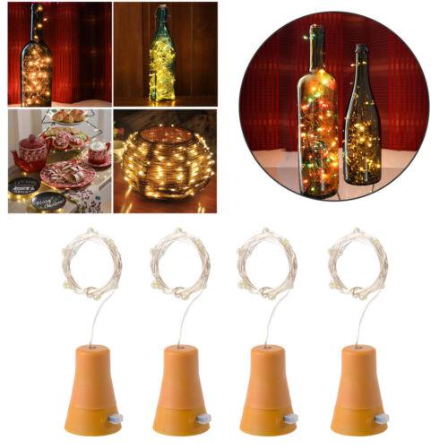10LED Solar Wine Bottle Cork Shaped Strings Fairy Light Night Lamp Xmas Party BG