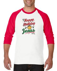 fe2e29449dc61 Gildan Raglan T-shirt 3 4 Sleeve Christmas Happy Birthday Jesus ...