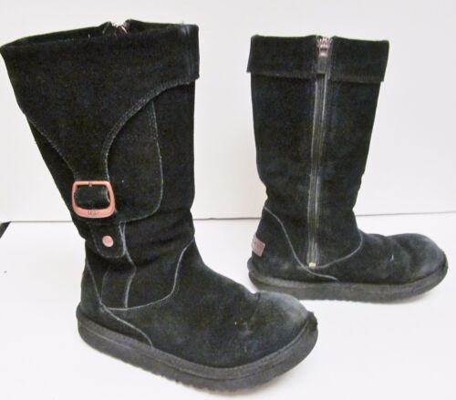 0302b7aa0de UGG AUSTRALIA LEATHER Sheepskin Boots 5918 Zip Youth Kids Girls Distress  Black 2