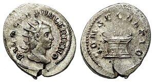 *AET* VALERIAN II AR Antoninianus. EF-. Altar - CONSECRATIO.