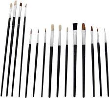 Artista Cepillos 15 Paint Brush Set Tamaños Surtidos Acrílico Aceite Cepillos Flat Tipped