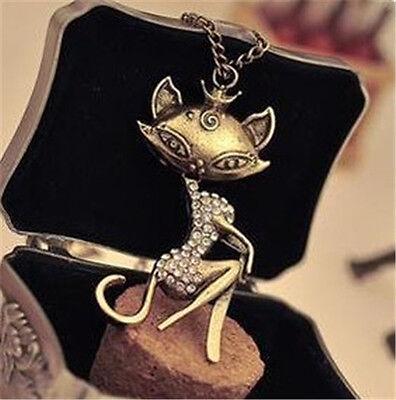 Sexy Cat animal Girl Crystal Rhinestone Long Necklace Retro Women Chain Pendant