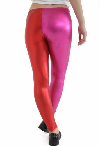 Women Metallic Wet Look Blue and Red Leggings Harley Quinn Suicide Squad Pants