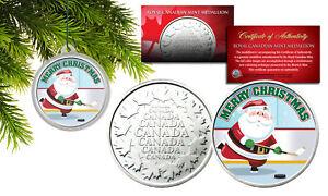 MERRY-CHRISTMAS-Santa-Playing-Hockey-RCM-Medallion-Canada-Coin-XMAS-Tree-Capsule