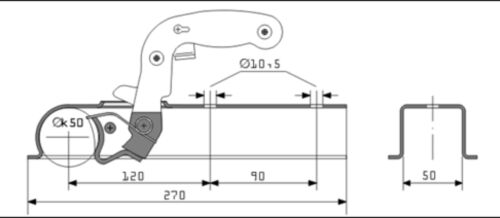 PRESSED STEEL TRAILER HITCH COUPLING To Suit A 50mm Draw Bar MP80