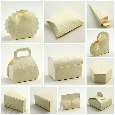 Luxury DIY Wedding Party Favour Boxes MACRAME Lacy Lace Embossed Ivory Cream