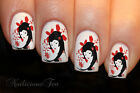 Japanese Geisha Girls Flower Nail WRAPS Nail Art Water Transfers Decals ST8005