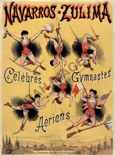Navarros Zulima Gymnaste Acrobats vintage circus theatre poster 18x24
